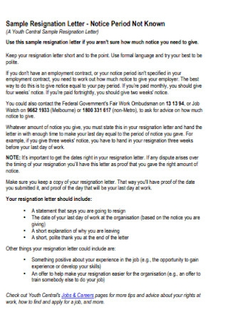 Sample Resignation Notice Period Letter