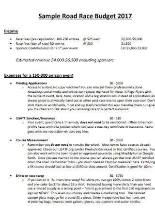 Sample Road Race Event Budget