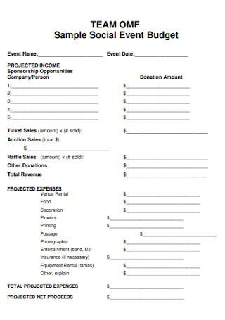 Sample Social Event Budget