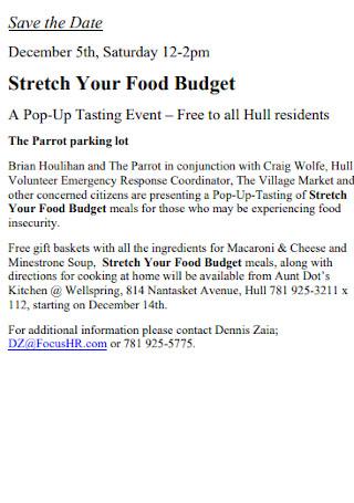 Sample Stretch Food Budget