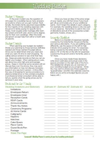 Sample Wedding Planning Budget