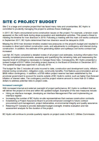 Site Project Budget Template