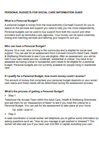 Social Care for Personal Budget