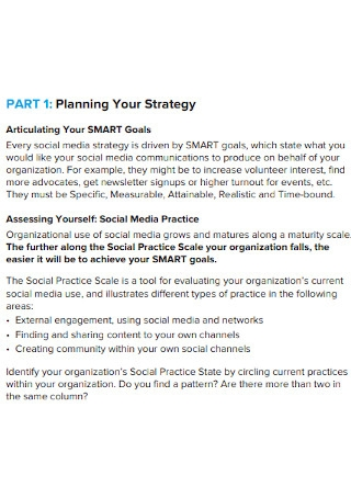 Social Media Strategy Planning Example