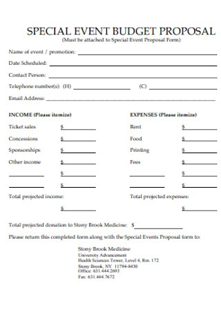 Special Event Budget Proposal Template