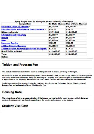 Spring College Budget Sheet