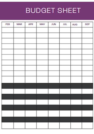 Standard Budget Sheet Template