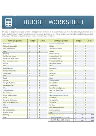 Standard Budget Worksheet Template