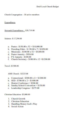 Standard Church Budget Template
