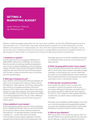 Standard Marketing Budget Template