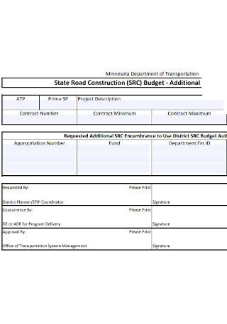 State Road Construction Budget