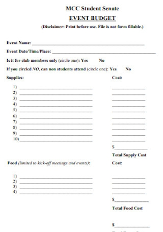 Student Budget Event Template