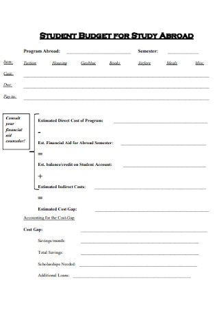 Student Budget for Study Template