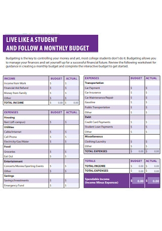 Student Monthly Budget Template