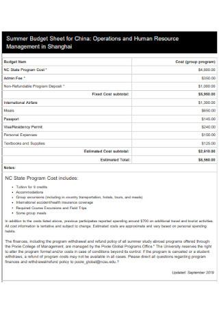 Summer Budget Sheet