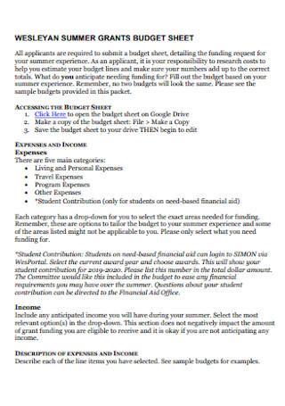 Suummer Grants Budget Sheet