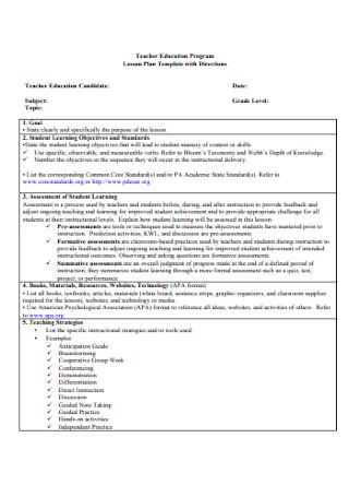 Teacher Education Lesson Plan