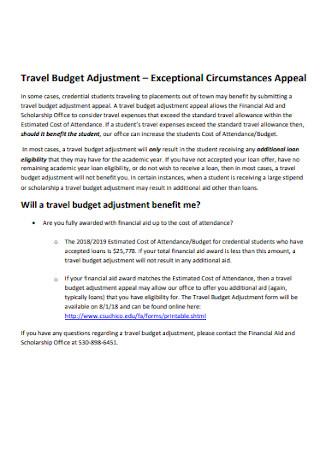 Travel Budget Adjustment Template