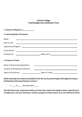 Travel Budget and Justification Form