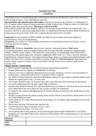 University Hospital Nursing Care Plan