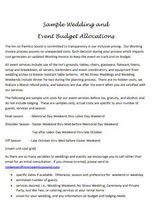 Wedding Event Budget