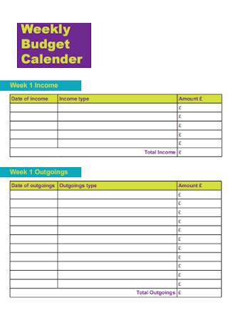 Weekly Budget Calebdar Template