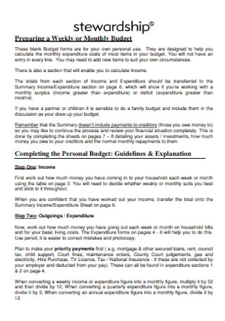 Weekly and Personal Budget Template