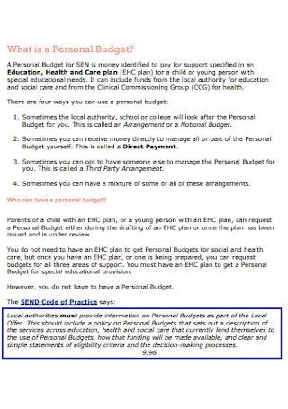 a Personal Budget for Special Educational