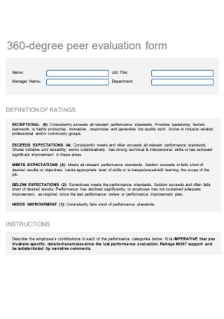 360 Degree Peer Evaluation Form