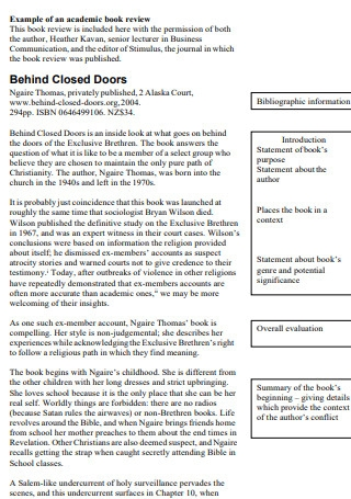 Academic Book Review Template