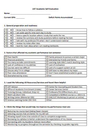 Academic Self Evaluation