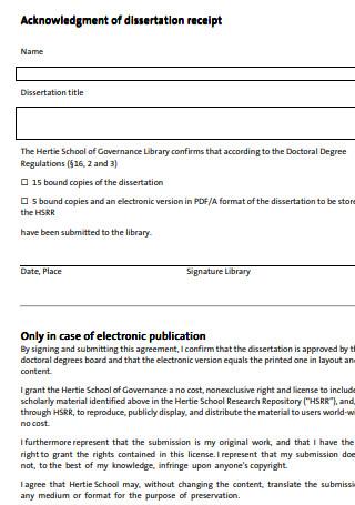 Acknowledgment of Dissertation Receipt