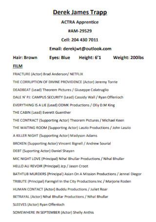 Acting Apprentice Resume