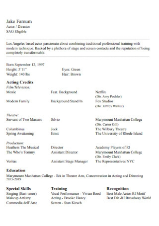 Acting Credits Resume
