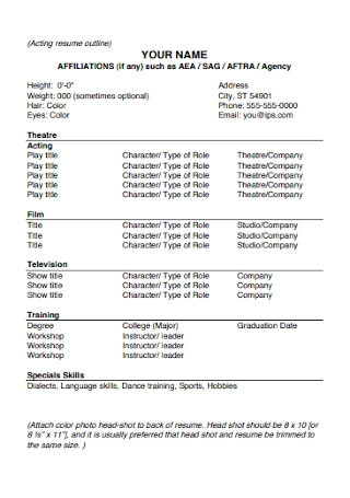 Acting Resume Outline