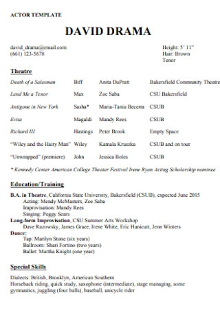 Actor Acting Resume