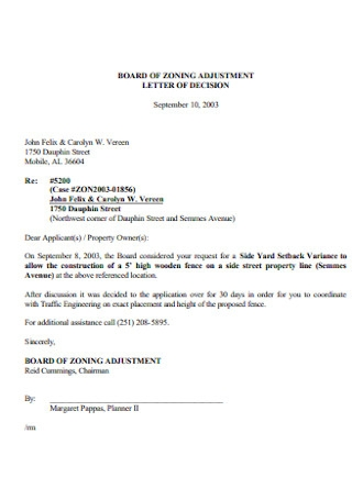 Adjustment Letter of Decision Example