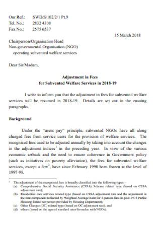 Adjustment in Fees Letter