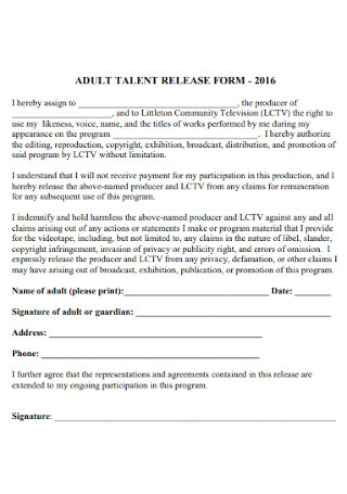 Adult Talent Release Form