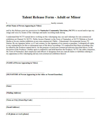 Adult or Minor Talent Release Form