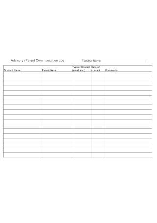 Advisory Parent Communication Log
