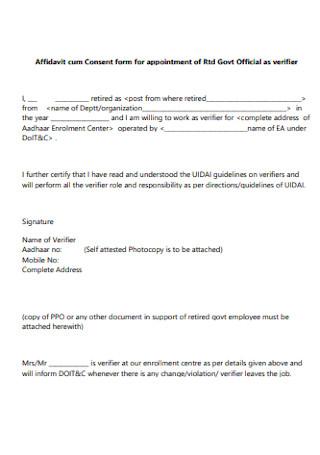 Affidavit Cum Consent Form