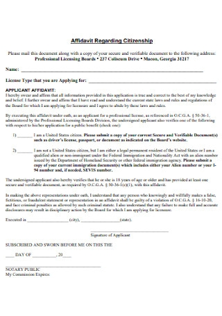 Affidavit Regarding Citizenship Form