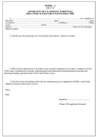 Affidavit of Claimant Form