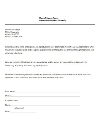Agreement Photo Release Form