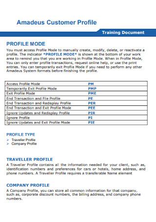 Amadeus Customer Profile