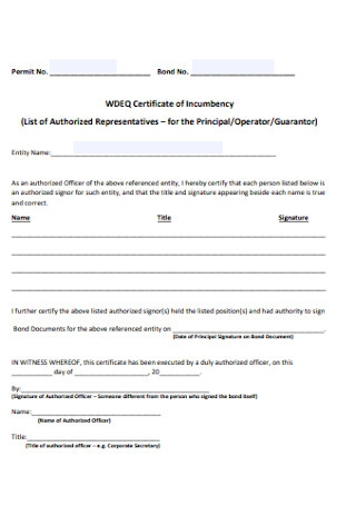 Annual Certificate of Incumbency