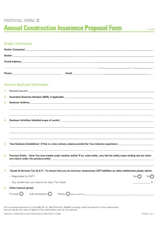 Annual Construction Insurance Proposal Form