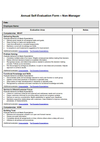Annual Self Evaluation Form