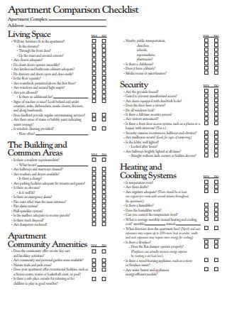 Apartment Comparison Checklist